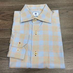 David Donahue Blue, Rust & Tan Plaid Shirt M